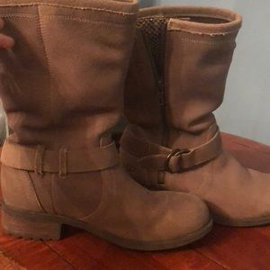 UGG moto style boots. Side zip with python instead